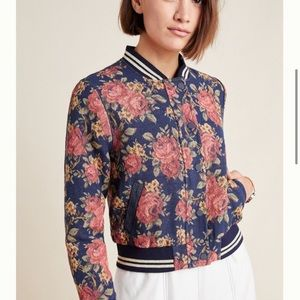 NWT Anthro Pacey Jacquard Floral Bomber Jacket